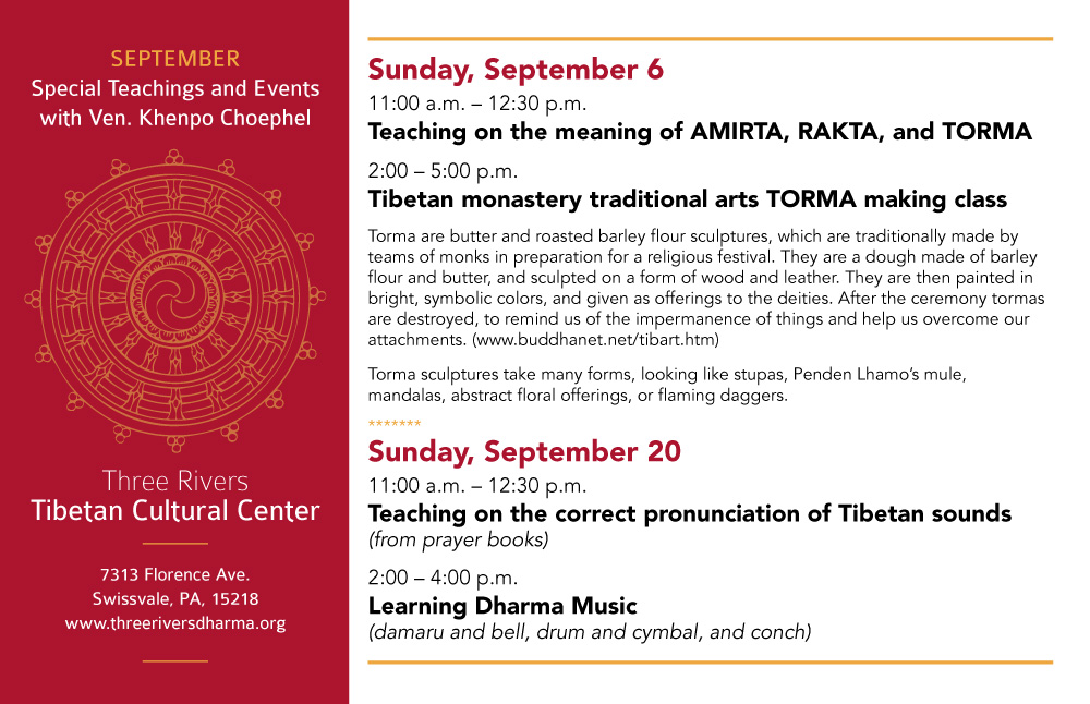 September Teachings and Events